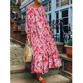 Kadınlar Vintage Uzun Kollu Ekip Boyun Çiçek Baskı Maxi Elbise