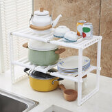 2 Tier Under Sink Expandable Cabinet Shelf Organizer Kitchen Storage Rack