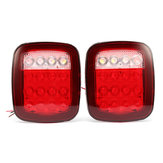 2Pcs LED Car Red White Tail Light Truck Trailer Stop Turn Lamp for Jeep JK TJ CJ YJ