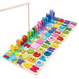 6 EM 1 Números de madeira Gráficos Jogo de pesca Carta de correspondência multifuncional Brinquedo educacional de aprendizagem precoce para presente infantil
