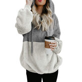Women Casual Two Tone Patchwork Fleece Hooded Sweatshirt