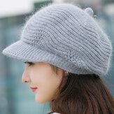 Femmes en laine tricoté chaude octogonale chapeau souple souple chapeaux décontractés