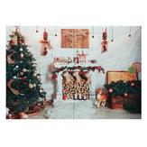 8x6FT شجرة عيد الميلاد الموقد الأبيض بطانية التصوير خلفية استوديو الدعامة الخلفية