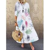 Bohemio Manga 3/4 O-cuello Estampado floral Casual Maxi Vestido