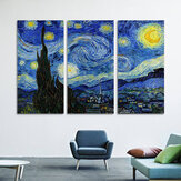 Modern Spray Painting Decorative Painting Hotel Home Canvas Oil Painting Mural Triple Starry Sky