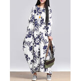 L-5XL Casual Women Loose Floral Print Dress