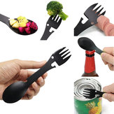 IPRee® 5 In 1 Spoon Fork Bottle Can Opener EDC Portable Multifunctional Camping Picnic Tableware