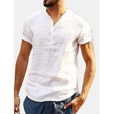 Camisetas de lino sin mangas Cuello de manga corta para hombres Playa Blusa casual de tops frescos