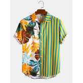 Herren Tropical Leaf Colorful Streifen Mixed Print Kurzarm Casual Holiday Shirts