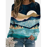 Women Casual Landscape Printed Colorful O-neck Long Sleeve Blouse