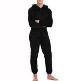 Rahat Erkekler Sonbahar Kış Kapşonlu Salonu Aşınma Sıcak Polyester Tulumlar