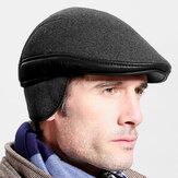 Lã masculina inverno ao ar livre manter quente cor sólida casual universal frente Chapéu boina Chapéu