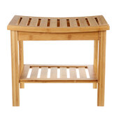 Qiwu QW8536 Wooden Shower Stool Bamboo Non-slip Shoe Changing Chair for Bathroom