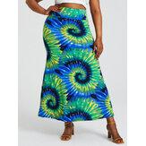 Облегающая длинная юбка с высокой талией и ягодицами с принтом Bohemia Tie Dye