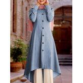 Blusas de túnica feminina kaftan com botões sólidos na frente, manga comprida alta e baixa