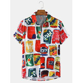Mens Colorful Can Letter Print Light Casual Short Sleeve Shirts With Pocket