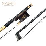 NAOMI Advanced 4/4 Geigenbogen Goldene Seide Geflochtener Kohlefaserbogen Schwarzer Rosshaar-Rundstab