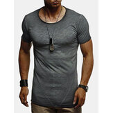 Mens Solid Color Short Sleeve Crew Neck Activewear T-Shirts