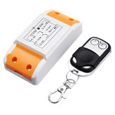 433MHz AC 220V 1CH Channel Wireless Remote Control Switch Module with Small Metal 2 Key Transmitter
