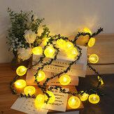 Plasterki cytryny Lights String Świąteczne dekoracje do domu Girlanda Zasilane bateryjnie Światło LED String Fairy Lights do zdjęć Wedding Decor