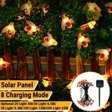 5M / 6,5M / 9,5M / 12M / 22M LED Energia solar Bee Luz de corda para festas ao ar livre Lâmpada de fadas Decoração de quintal de jardim