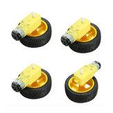 4 Stücke 65x26mm Kunststoff Reifen Rad + DC 3-6 v Getriebemotor Für Smart Auto