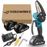 VIOLEWORKS 4 ιντσών 88VF Ασύρματη ηλεκτρική αλυσίδα πριόνι με ένα χέρι Εργαλείο ξυλουργικής W/None/1pc/2pcs Μπαταρία για Makita