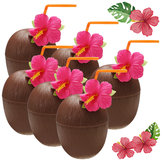 6Pcs Hawaiian Luau Hula Tropical Kunststoff Party Coconut Cup Getränk & Stroh Dekoration Trinkhalm