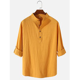Mens Cotton & Linen Long Sleeve Simple Henley Shirts