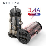 KUULAA Mini USB Car Charger 17W Fast Charging Dual USB Charger Adapter For iPhone XS 11Pro Mi10 Note 9S S20+ Note 20
