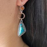 Retro Smaragd Asymmetrische Ohrringe Geometrisches Dreieck Bernstein Türkis Ohrringe