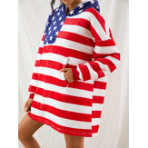 Women American Flag Graphics Fleece Lined Blanket Hoodie Cozy Thicken Warm Robe With Pocket