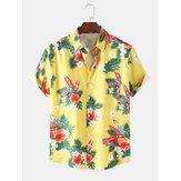 Mens Designer Cartoon Car Floral Print Hawaii Holiday Short Sleeve Shirts