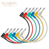 NAOMI 6pcs/Set Multi Color Plastic Guitar Patch Cables 6.35 Angled Plug Audio Cables For Effect Pedals