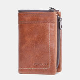 Men Genuine Leather Double Zipper Retro Business Multi Card Slot Leather Card Holder Wallet
