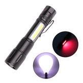 XANES® 1245 T6+COB LED 5 Modes USB Rechargeable Telescopic Zoom LED Flashlight