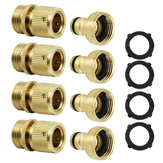 3/4'' NPT Solid Brass Male and Female Connector Garden Hose Quick Connect Water Hose Pipe Connectors Fitting w/ Hose Washers