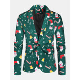 Mens Allover Christmas Element Print Cotton Single-Breasted Stylish Blazer