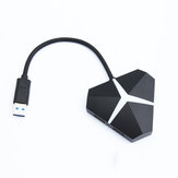 GOFREE Hot-Swappable USB Hub Triangle Colorful RGB Light USB3.0 Splitter Adapter USB Data Docking Station for Computer Tablet Mobile Phones