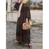 Women Retro Grid Print O-Neck Puff Sleeve Kaftan Maxi Dress
