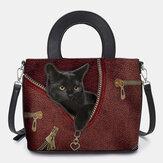 Women Faux Leather Cartoon Black Cat Pattern Multi-carry Handbag Crossbody Bag Satchel Bag