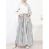Women Striped Patchwork Double Pockets O-Neck Long Sleeve Maxi Dress