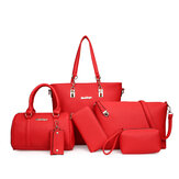 6PCS Women Plain Faux Leather Handbag