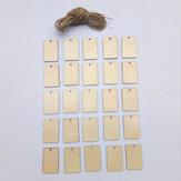25 sztuk puste prostokątne drewno chipy arkusz wisi Tagi Ornament grawerowanie laserem DIY Art Wedding Decor