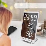 6 Inch LED Mirror Alarm Clock Touch Button Wall Digital Clock Time Temperature Humidity Display USB Output Port Table Clock