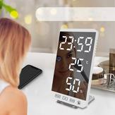 6 дюймов LED Зеркало сигнализации Часы Сенсорная кнопка Стена Цифровой Часы Время Температура Влажность Дисплей Таблица выходных USB-портов