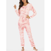 Plus Size Women Pink Tie Dye Long Sleeve Half Button Round Neck Pants Rompers Home Cozy Pajamas
