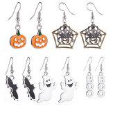 Halloween-Dekoration Tropfen baumeln Ohrringe mit Kürbis Spinnennetz Fledermaus Geist gemustert