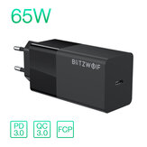 BlitzWolf® BW-S17 Caricatore USB-C da 65 W PD3.0 Caricabatteria da parete con alimentatore con adattatore per presa UE per laptop tablet smart phone per iPhone 11 SE 2020 per iPad Pro 2020 MacBook Air 2020 Huawei
