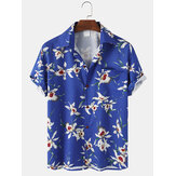 Mens Floral Print Light Loose Casual Short Sleeve Shirts With Pocket
